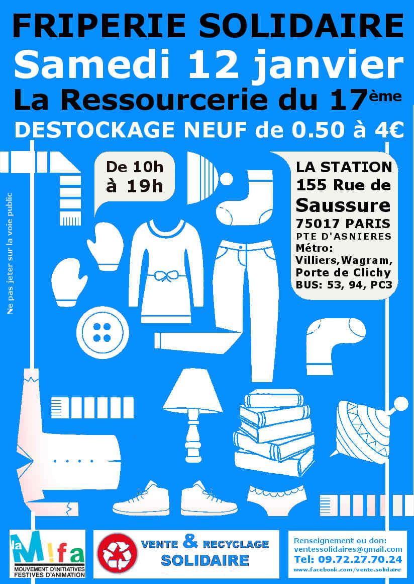 """Friperie solidaire de la """"Ressourcerie du 17ème"""" – samedi 12/01 : ou comment chiner tout en faisant une action solidaire"""