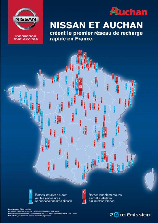 Auchan et Nissan rendent accessibles les traversées de la France en voitures électriques !